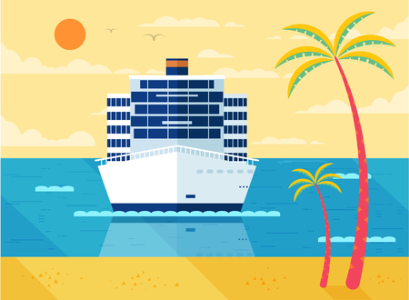 sea view: Stock Vector illustration of cruise ship in sea, front view of cruise ship near beach, palm trees, white cruise liner, cruise ship, multi-tiered cruise ship, cruise ship in flat style for info graphic