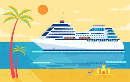 Stock Vector illustration of cruise ship isolated, side view of cruise ship near beach, palm trees, white cruise liner, cruise ship, multi-tiered cruise ship, cruise ship in flat style for infographic