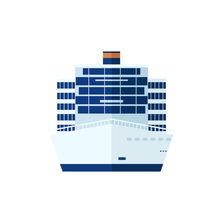 Stock Vector illustration of cruise ship isolated, front view of cruise ship on white background, white cruise liner, cruise ship, multi-tiered cruise ship, cruise ship in flat style for info graphic