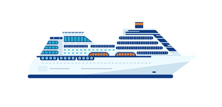 Stock Vector illustration of cruise ship isolated, side view of cruise ship on white background, white cruise liner, cruise ship, multi-tiered cruise ship, cruise ship in flat style for info graphic