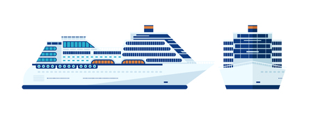 cruise liner: Stock Vector illustration of cruise ship isolated, side view of cruise ship on white background, front view cruise liner, cruise ship, multi-tiered cruise ship, cruise ship flat style for info graphic