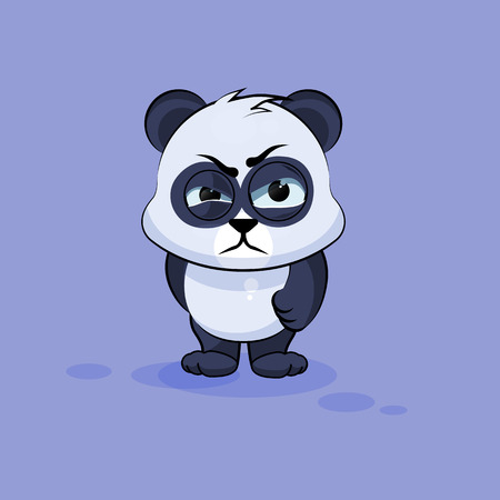cute panda: Vector Stock Illustration isolated Emoji character cartoon Panda sticker emoticon with angry emotion for site, info graphic, video, animation, websites, e-mails, newsletters, reports, comics