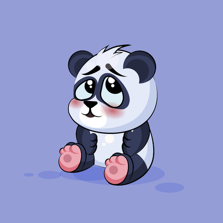 ashamed: Vector Stock Illustration isolated Emoji character cartoon Panda embarrassed, shy and blushes sticker emoticon for site, info graphic, video, animation, websites, e-mails, newsletters, reports, comics