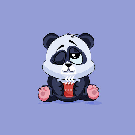 Vector Stock Illustration isolated Emoji character cartoon Panda just woke up with cup of coffee sticker emoticon for site, infographic, video, animation, websites, e-mails, newsletters, reports, comics