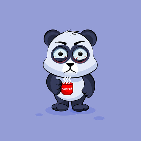 nervousness: Vector Stock Illustration isolated Emoji character cartoon Panda nervous with cup of coffee sticker emoticon for site, info graphic, video, animation, websites, e-mails, newsletters, reports, comics Illustration
