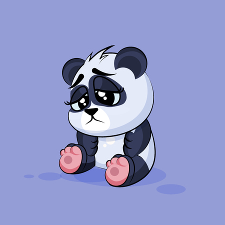 character cartoon: Vector Stock Illustration isolated Emoji character cartoon Panda sad and frustrated sticker emoticon for site, info graphic, video, animation, websites, e-mails, newsletters, reports, comics