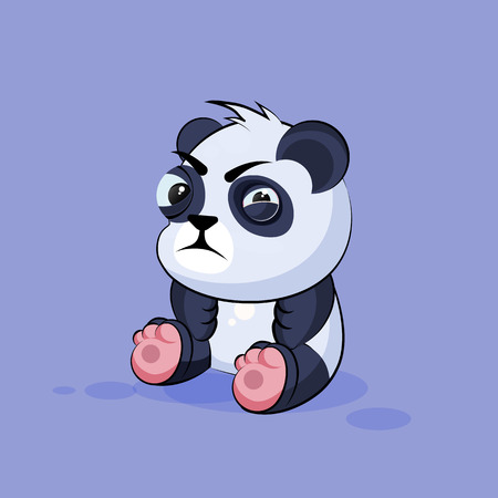 discontent: Vector Stock Illustration isolated Emoji character cartoon Panda squints and looks suspiciously sticker emoticon for site, info graphic, video, animation, websites, e-mails, newsletters, reports, comics