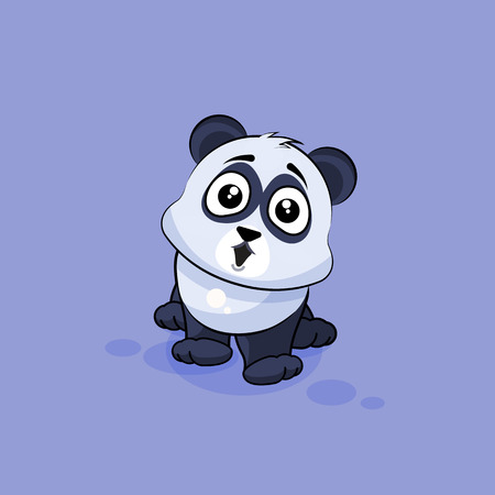 big eyes: Vector Stock Illustration isolated Emoji character cartoon Panda surprised with big eyes sticker emoticon for site, info graphic, video, animation, websites, e-mails, newsletters, reports, comics