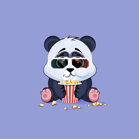 chewing: Vector Stock Illustration Emoji character cartoon Panda chewing popcorn, watching movie in 3D glasses sticker emoticon for site, infographic, video, animation, website, e-mail, newsletter, report, comic Illustration