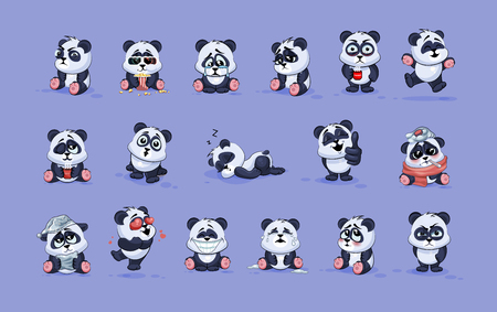 Set Vector Stock Illustrations isolated Emoji character cartoon Panda stickers emoticons with different emotions for site, info graphic, video, animation, websites, e-mails, newsletters, reports, comics