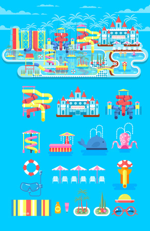 park: Vector illustration set elements water park, outdoor water park, water park with water slide, entertainment in water park, fountain in water park, water slide at water park flat style to info graphic