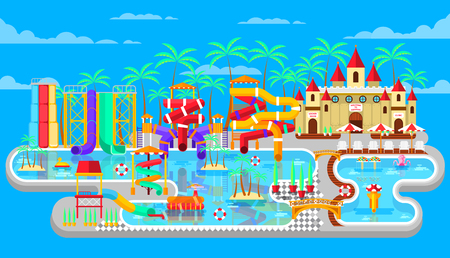 water park: Vector illustration of exterior water park, outdoor water park, water park with water slides, entertainment in water park, fountain, swimming pool at water park flat style to infographic