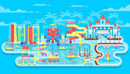 water park: Vector illustration of exterior water park, outdoor water park, water park with water slides, entertainment in water park, fountain in water park, swimming pool at water park flat style to infographic