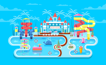 water park: Vector illustration of exterior water park, outdoor water park, water park with water slides, entertainment in water park, fountain in water park, swimming pool at water park flat style