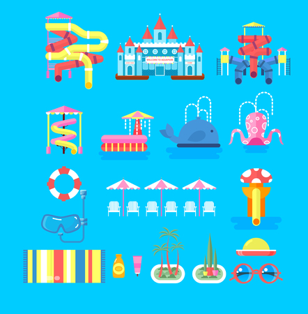 water park: Vector illustration set elements water park, outdoor water park, water park with water slide, entertainment in water park, fountain in water park, sunbeds at water park flat style to info graphic