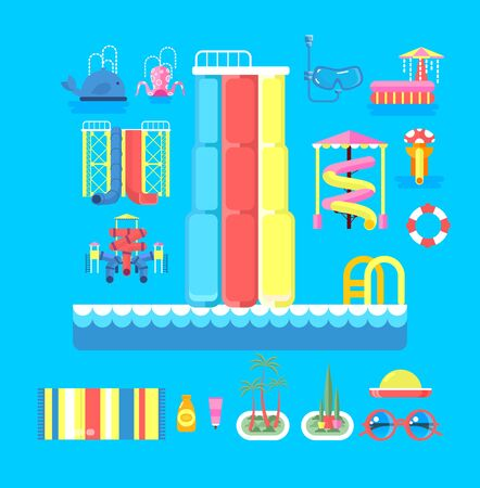 water park: Vector illustration set elements water park, outdoor water park, water park with water slide, entertainment in water park, fountain in water park, water slide at water park flat style to info graphic
