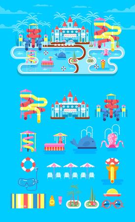 ilustración vectorial conjunto de elementos parque acuático, parque acuático al aire libre, parque acuático con un tobogán de agua, entretenimiento en el parque de agua, fuente en el parque del agua, diapositiva de agua en parque acuático de estilo plano de información gráfica