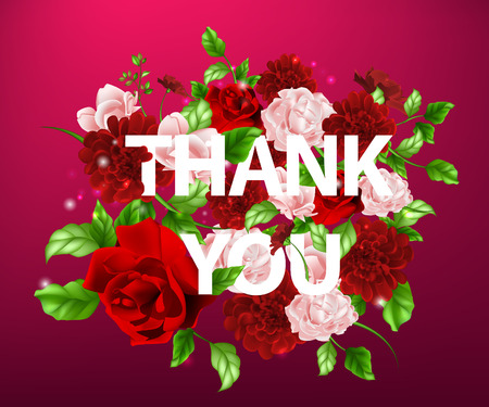 light pink: Stock vector illustration of flowers with lettering Thank you bouquet of flowers, roses, light pink flowers, pink flowers, flowers background, flower arrangement for congratulations, cards, postcards, messages,