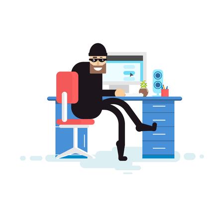 robo: Stock Vector ilustración aislada pirata, pirata informático se sienta cerca de un ordenador, pirata informático roba base de datos, ladrón en negro, ladrón robó, sobre fondo blanco ladrón, ladrón máscara negro, criminal, crimen, robo, hurto