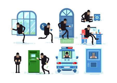 Set offenders, thief breaks window, running with bag of money, thief opens door lock picks, opens safe, Hacker, criminal in handcuffs, steals money from ATM, arrested in police car, prisoner in jail Illustration