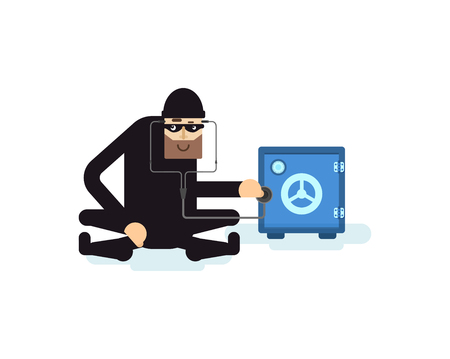 robo: Stock Vector ilustración aislada ladrón hacks seguro, ladrón con el estetoscopio que se sienta cerca de seguridad, ladrón en traje negro, ladrón robó, sobre fondo blanco ladrón, ladrón máscara negro, criminal, el crimen, el robo