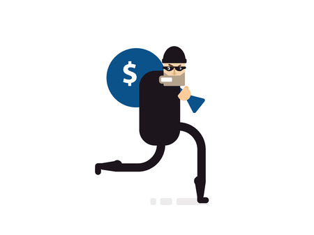carry bag: Stock Vector isolated illustration thief with bag of money, thief in black suit, thief stole money, thief runs, thief on white background, thief black mask, criminal with money, crime, robbery, theft