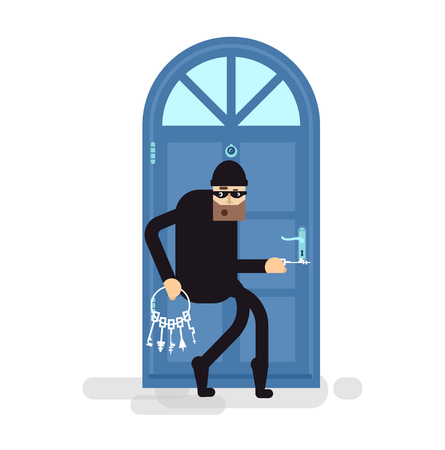 key ideas: Stock Vector isolated illustration thief, burglar sneaks to door, attacker holding bunch of skeleton keys, thief breaks door, thief in black suit, on white background, thief in black mask, criminal