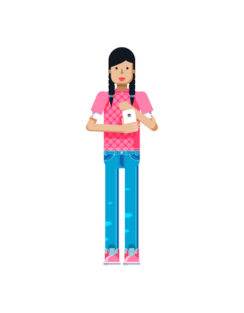 pigtails: Stock vector illustration isolated of European girl in pink blouse, blue jeans, dark long hair, pigtails, woman with smartphone in hand in flat style on white background