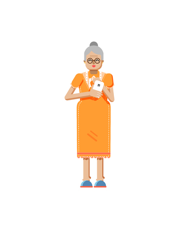 retiree: Stock vector illustration isolated of European retiree, elderly woman, white hair, glasses, with smartphone in hand, woman looking into screen of phone, flat style on white background