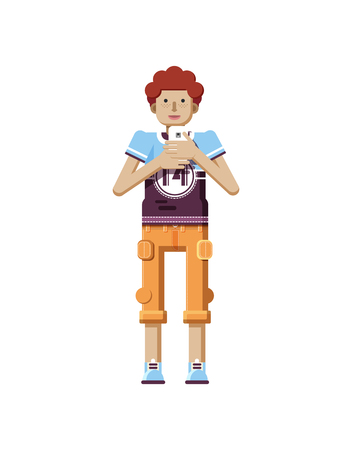 white pants: Stock vector illustration isolated of European redhead man with freckles in short orange pants, man with smartphone in hand, man looking into screen of phone, T-shirt in flat style on white background Illustration