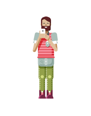 dark brown hair: Stock vector illustration isolated of European hipster with dark brown hair and beard, man with smartphone in hand, man looking into screen of phone, striped T-shirt in flat style on white background Illustration