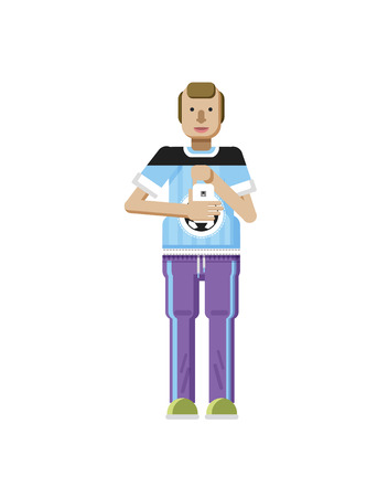 self training: Stock vector illustration isolated of European man with blond hair, receding hairline, smartphone in hand, man looking into screen of phone, T-shirt with soccer ball in flat style on white background