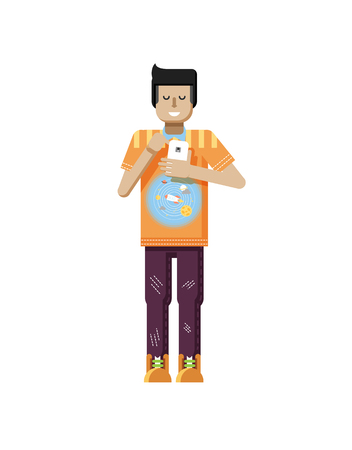 dark hair: Stock vector illustration isolated of European man with dark hair, man with smartphone in hand, man looking into screen of phone, T-shirt with space system and rocket in flat style on white background Illustration