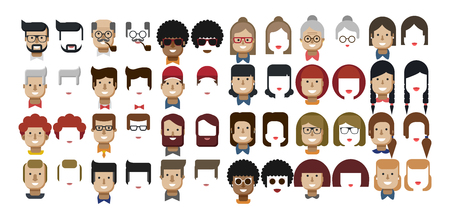 caucasians: Stock vector illustration set avatars female faces, male faces, design elements, African Americans, Caucasians, red hair, freckles, Womens hairstyles, Mens hairstyles, beard, hipsters flat style Illustration
