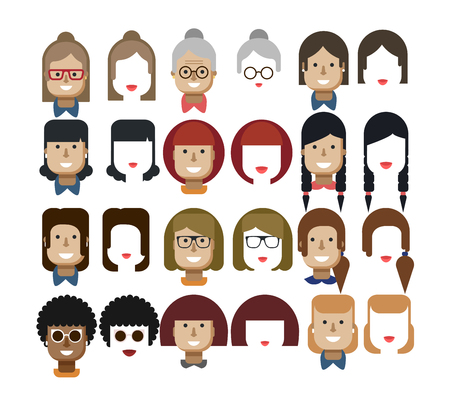 freckles: Stock vector illustration set avatars female faces, design elements, hairstyles, glasses, collar, red hair, freckles, gray, Womens hairstyles, haircut bob, bangs lips smile sunglasses flat style Illustration