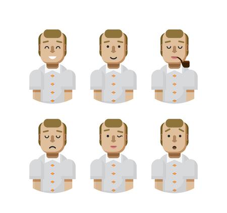 beardless: Stock vector illustration set male avatars, avatar with wide smile, male avatar with slight smile, avatar with pipe in mouth, upset, avatar winks, avatars surprised, Emoji, avatar balding flat-style Illustration