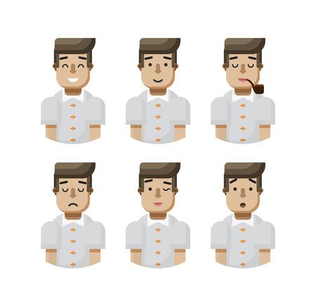 beardless: Stock vector illustration set male avatar, avatar with wide smile, male avatar with slight smile, avatar with pipe in mouth, upset avatar, avatar winks, avatar surprised, Emoji, black hair flat-style Illustration