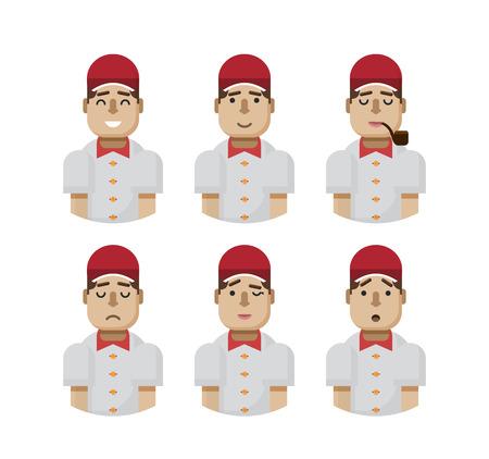 beardless: Stock vector illustration set male avatars, avatar with wide smile, male avatar slight smile, avatar with pipe in mouth, upset, avatar winks, avatars surprised, Emoji, avatars in a red cap flat-style
