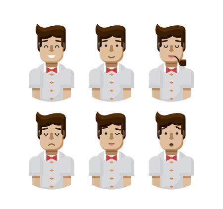 beardless: Stock vector illustration set male avatars, avatar with wide smile, male avatar with slight smile, avatar with pipe in mouth, upset avatar, avatar winks, avatars surprised, Emoji, hipster flat-style Illustration