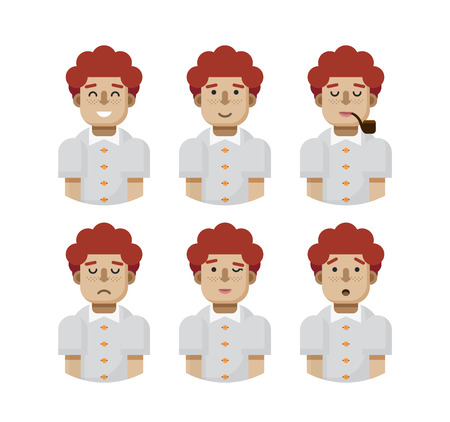 redheaded: Stock vector illustration set male avatars, avatar with wide smile, male avatar slight smile, avatar with pipe mouth, upset avatar, avatar winks, avatars surprised, Emoji, redhead, freckles flat-style Illustration