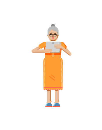 retiree: Stock vector illustration isolated of European retiree, elderly woman, white hair, glasses, with laptop in hand, woman looking into screen of eBook, flat style on white background