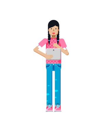 pigtails: Stock vector illustration isolated of European girl in pink blouse, blue jeans, dark long hair, pigtails, woman with laptop in hand in flat style on white background