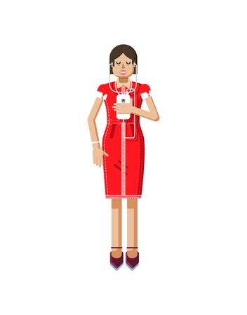 dark hair: Stock vector illustration isolated of European woman with dark hair in red dress, high heels shoes, woman with smartphone in hand, woman listen music from phone in flat style on white background