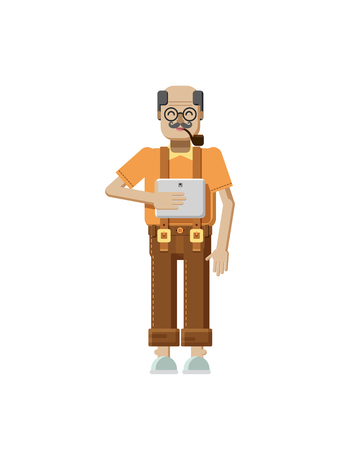 gray hair: Stock vector illustration isolated of European elderly retiree, gray hair, mustache, in glasses, pipe in mouth, trousers with braces, old man with laptop in hand in flat style on white background