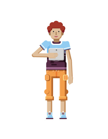white pants: Stock vector illustration isolated of European redhead man with freckles in short orange pants, man with laptop in hand, man looking into screen of eBook, T-shirt in flat style on white background