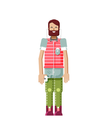 dark brown hair: Stock vector illustration isolated of European hipster with dark brown hair and beard, man with smartphone in hand, man listen music from phone, striped T-shirt in flat style on white background