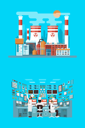 npp: Vector Stock illustration of facade architecture nuclear power plant in flat style, power generation, interior science base, interior nuclear power plant, technical equipment, workers NPP