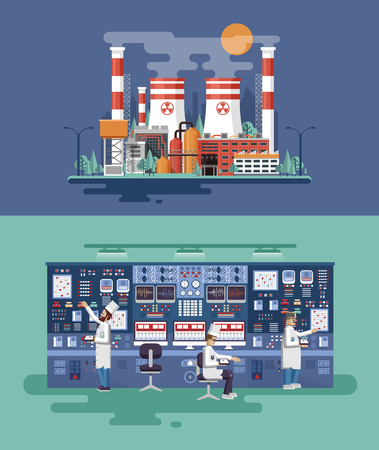 npp: Vector flat illustration interior science base, interior nuclear power plant, technical equipment, scientists, workers NPP, research, development, experiments, data processing, technological progress Illustration