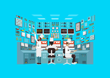 Vector Stock illustration of facade architecture nuclear power plant in flat style, power generation, interior science base, interior nuclear power plant, technical equipment, scientists, workers NPP