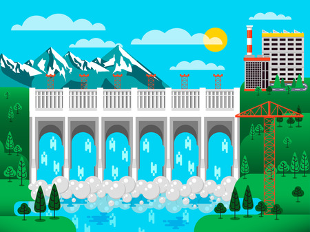 Stock vector illustration of water dam among green hills, water pressure, causeway, barrage bridge, office buildings to control dam, mountains snow-capped peaks, crane metal structures blue background Illustration